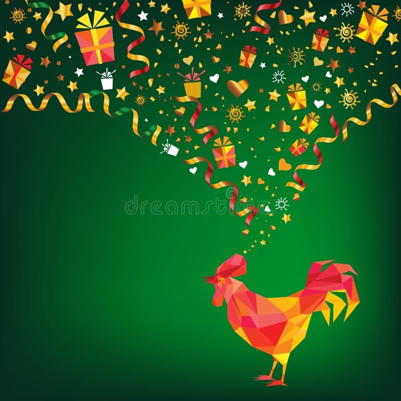 在绿色深刻的背景的多角形雄鸡 新年招呼的加州 库存例证
