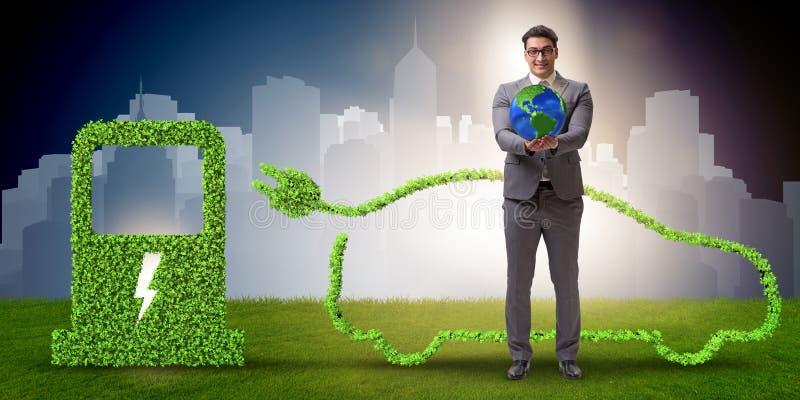 在绿色环境概念的电车概念 库存图片