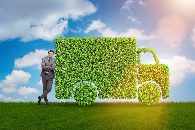 在绿色环境概念的电车概念 免版税库存照片