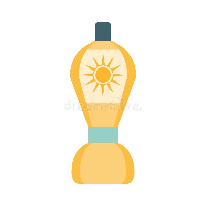 在黄色瓶的太阳化妆水化妆产品以后,一部分的夏天海滩例证假期系列  库存例证