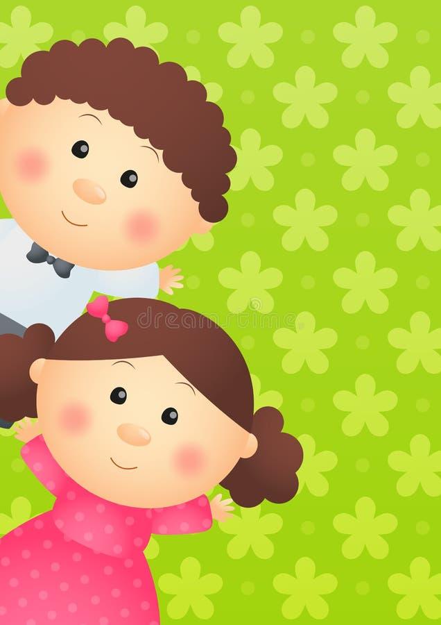 在绿色的两个孩子 皇族释放例证