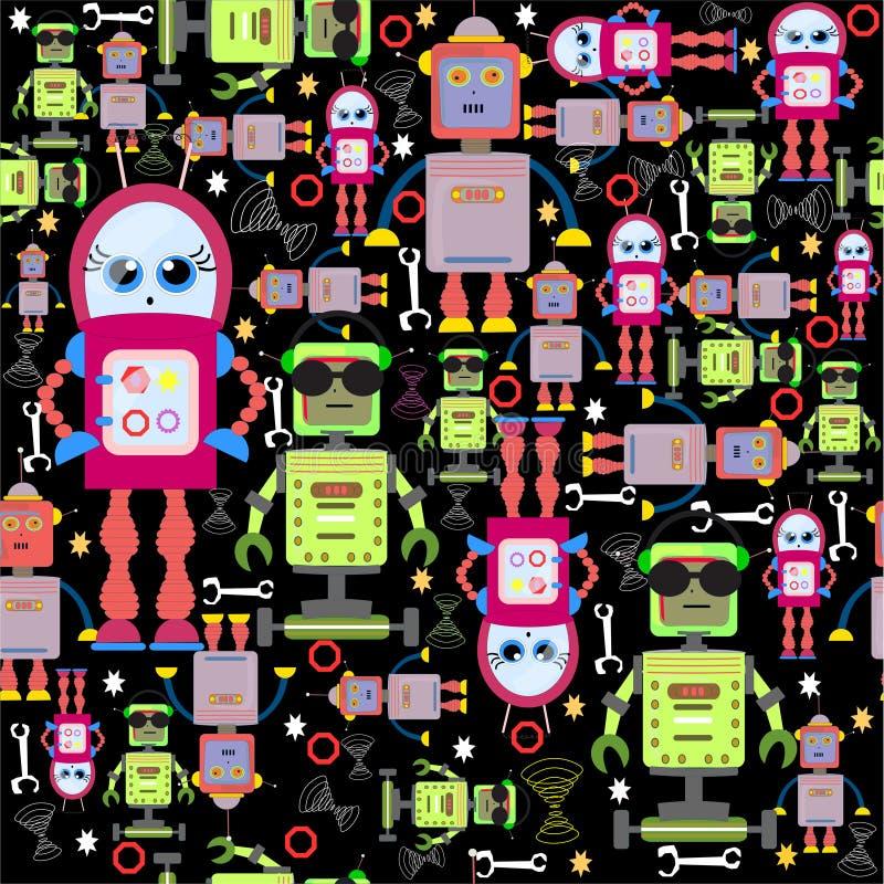 在黑色的传染媒介无缝的背景滑稽的五颜六色的机器人 库存例证