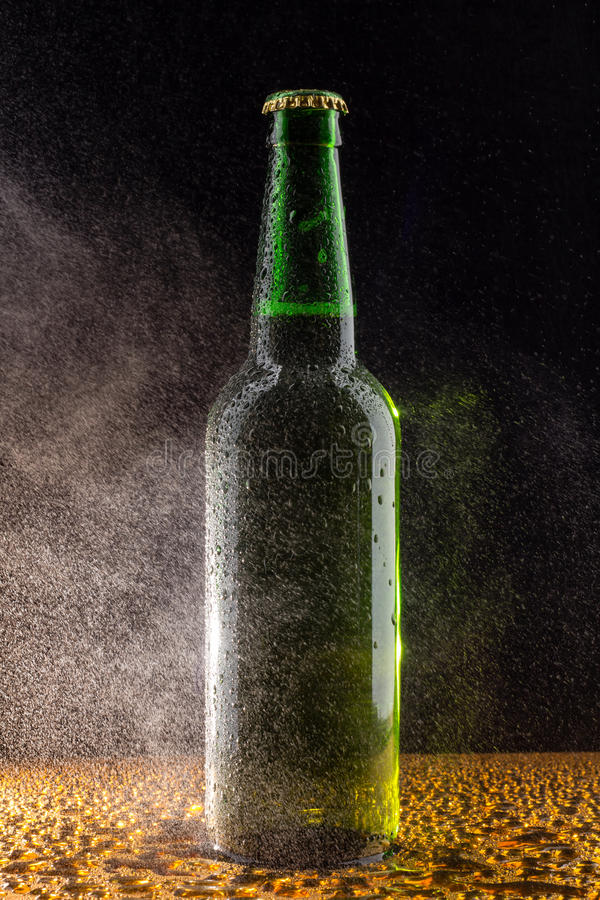 在黑色的冷的绿色啤酒瓶 库存图片