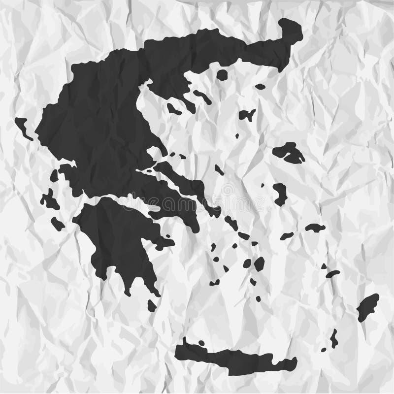 在黑色的希腊地图在背景弄皱了纸 库存例证