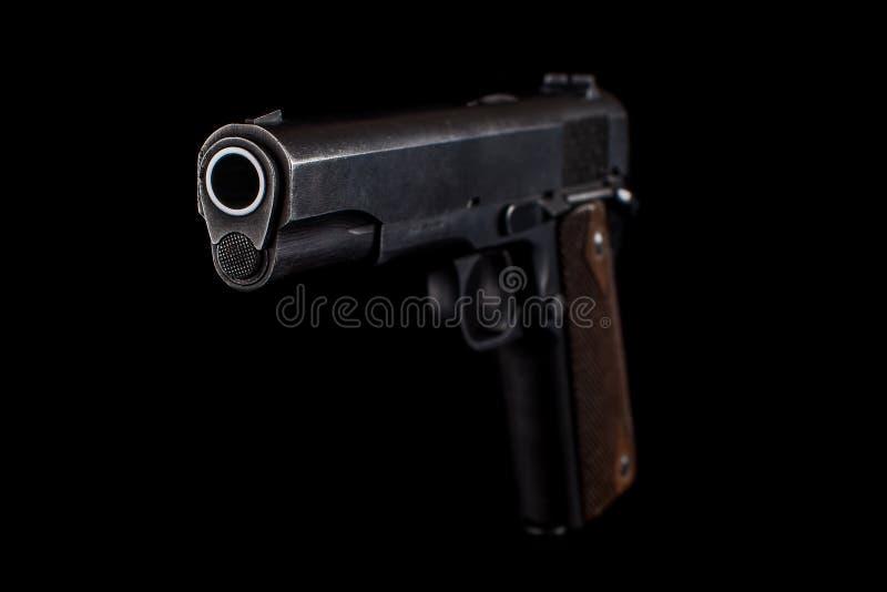 在黑色的手枪1911年 库存照片