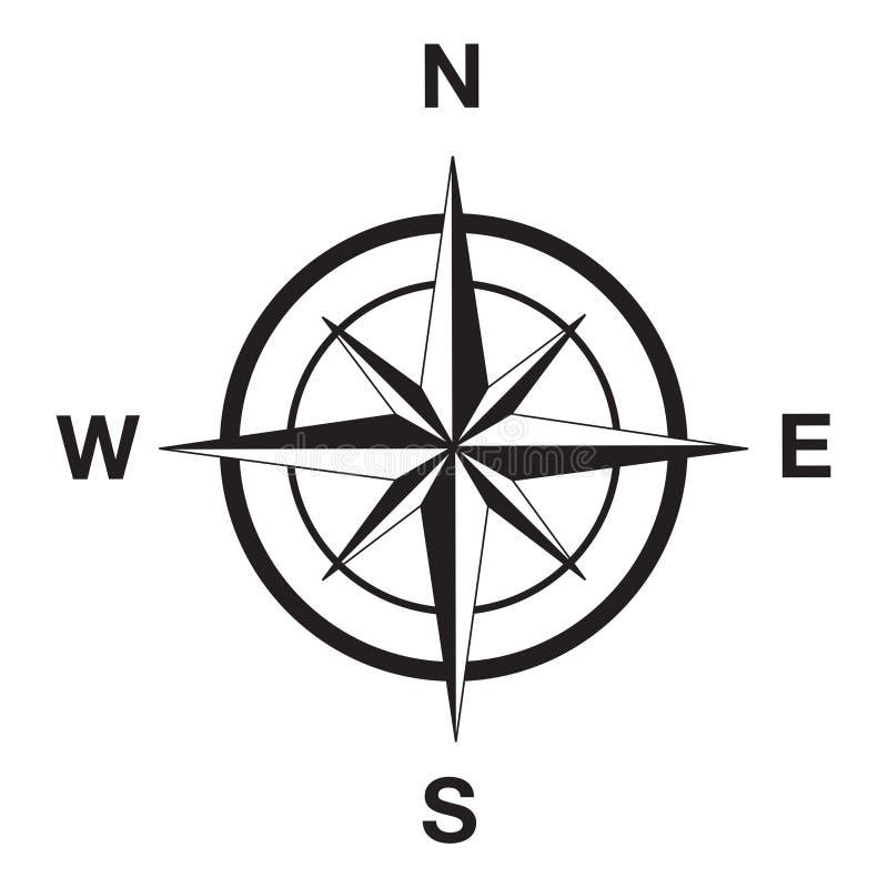 在黑色的指南针剪影 向量例证