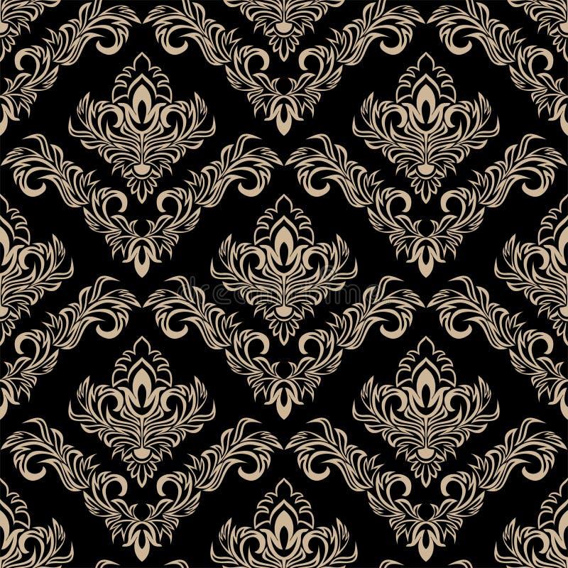 在黑色的无缝的锦缎墙纸在减速火箭的样式 向量例证