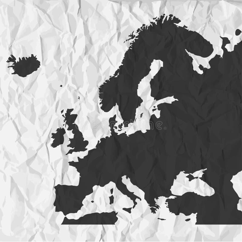 在黑色的欧洲地图在背景弄皱了纸 向量例证