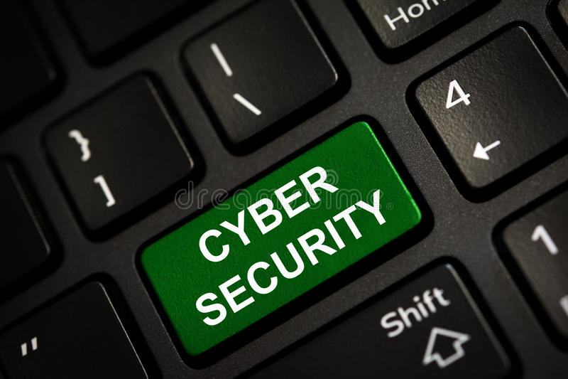 在绿色的消息输入键 Cyber证券概念 免版税库存图片