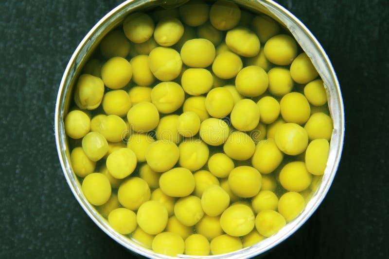 在黑色的罐装豌豆 免版税库存图片