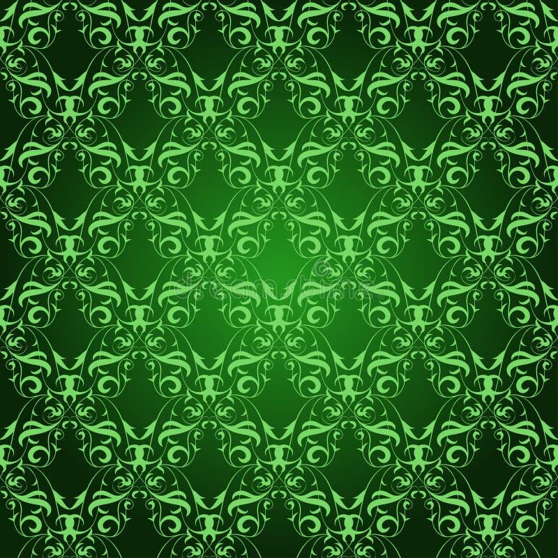 在绿色的葡萄酒锦缎无缝的样式 向量例证