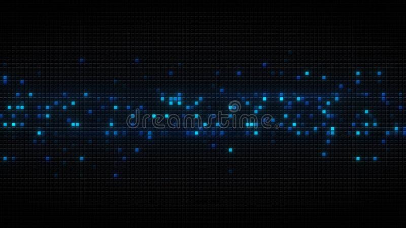 在黑色的蓝色发光的立方体铺磁砖抽象背景 向量例证