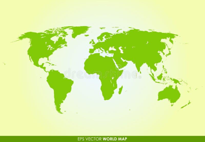 在绿色的详细的世界地图 皇族释放例证