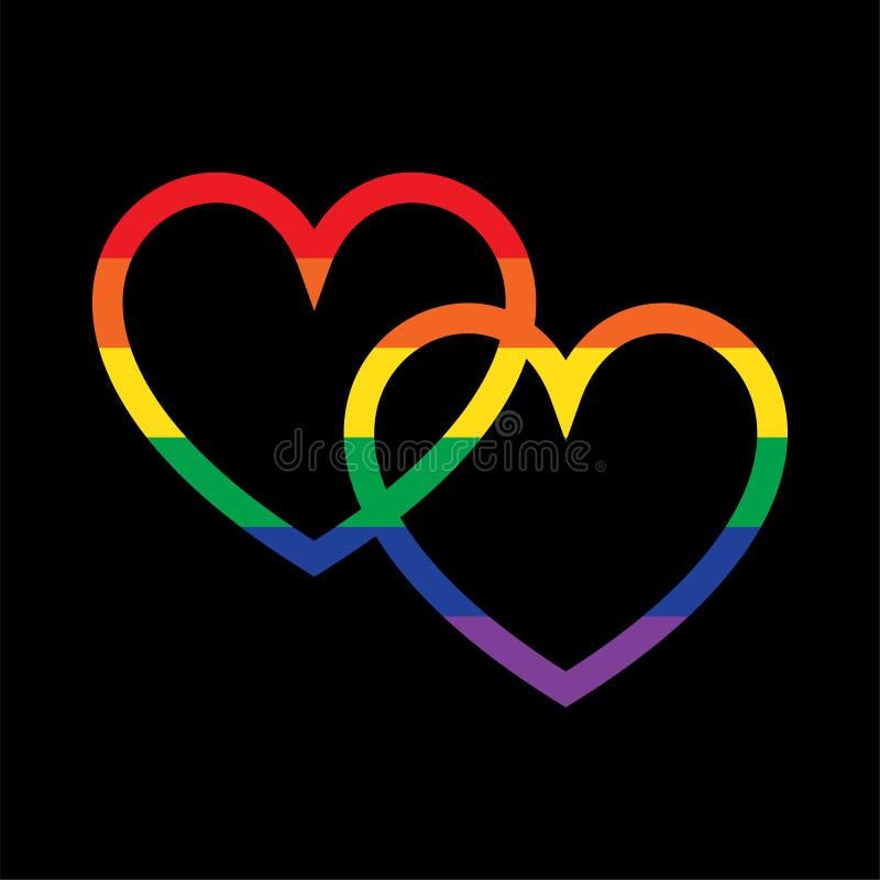 在黑色的重叠的彩虹心脏 皇族释放例证