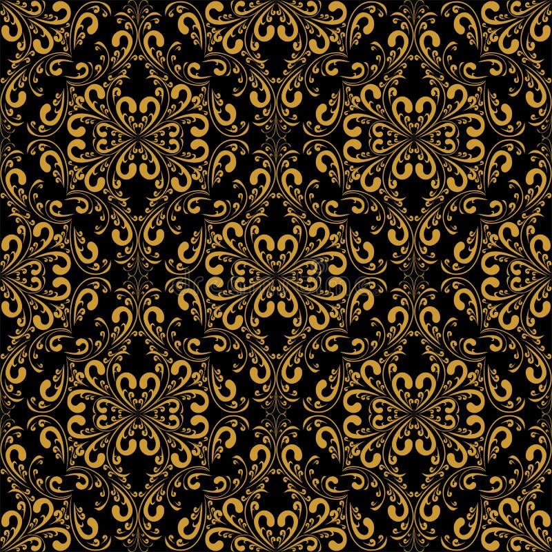 在黑色的金黄无缝的锦缎样式 库存例证