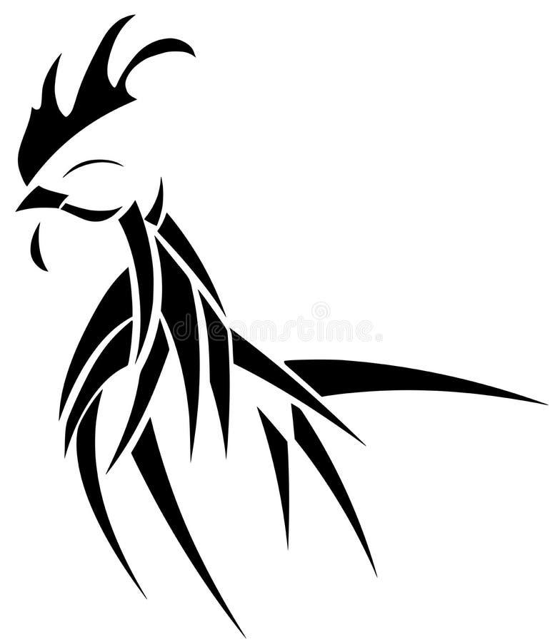 在黑色的风格化公鸡纹身花刺被隔绝的 皇族释放例证