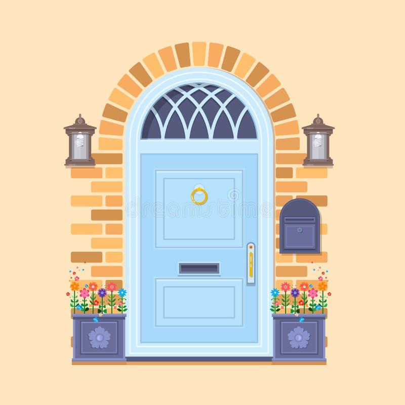 在黄色砖墙上的蓝色前门有有植物和灯笼的两个罐的 传染媒介大厦元素 动画片房子 库存例证