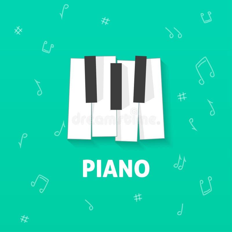 在绿色笔记背景锁上传染媒介平的商标隔绝的钢琴 向量例证
