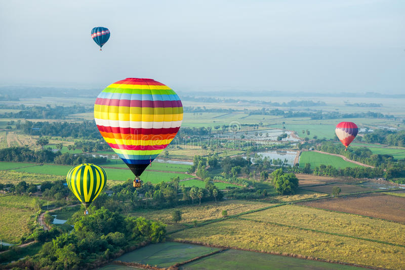 在绿色米领域的热空气气球 库存照片