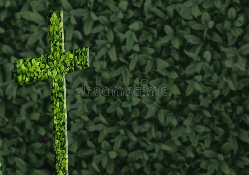在绿色背景的十字架 免版税库存图片