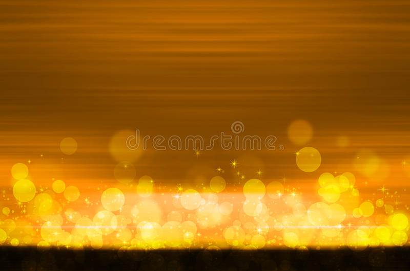 在黄色背景的抽象五颜六色的bokeh 向量例证