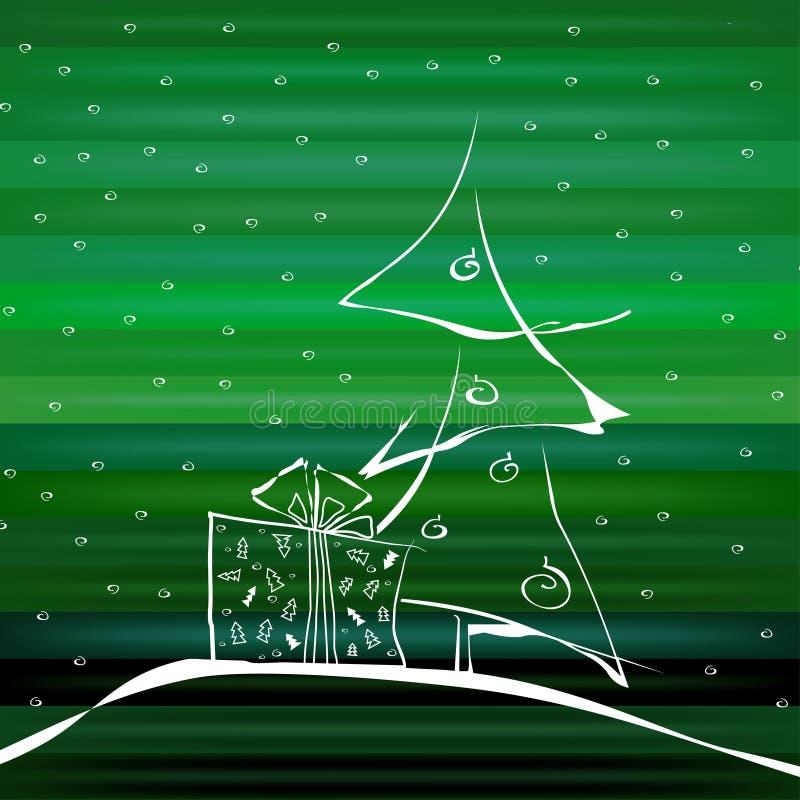 在绿色背景的抽象圣诞树 库存例证