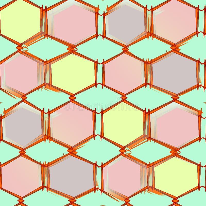 在绿色背景的抽象无缝的样式上色了与角落的形状 向量例证