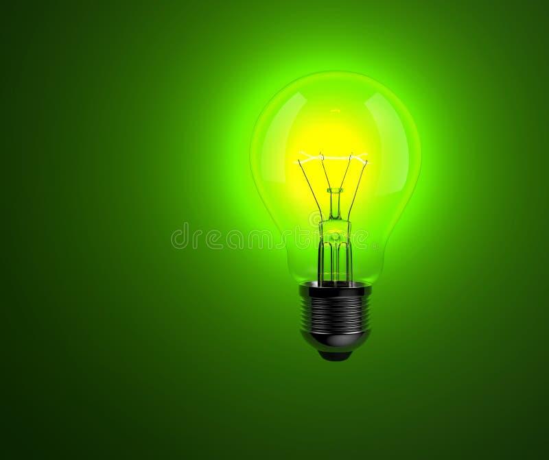 在绿色背景的电灯泡 免版税库存图片