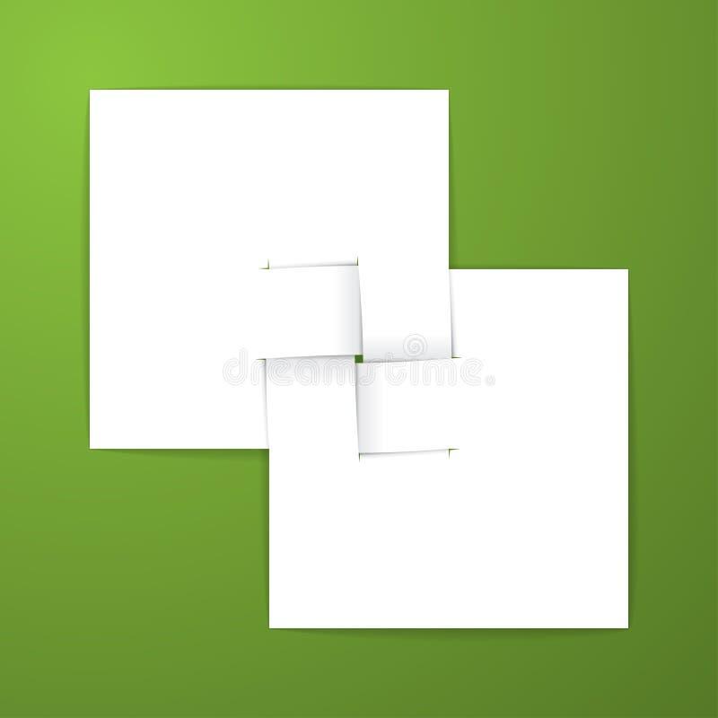 在绿色背景的白皮书与不可能的origami 免版税库存照片