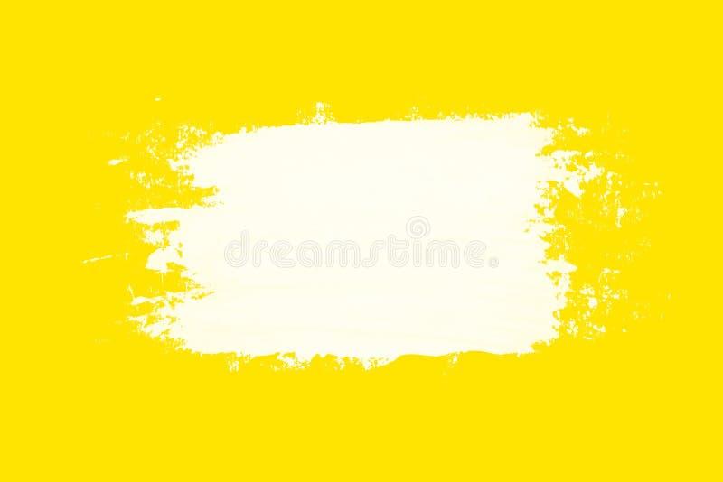在黄色背景的白色脏的刷子冲程 皇族释放例证