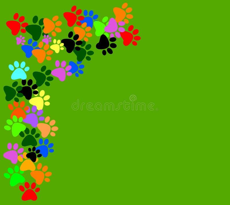 在绿色背景的色的pawprints 皇族释放例证