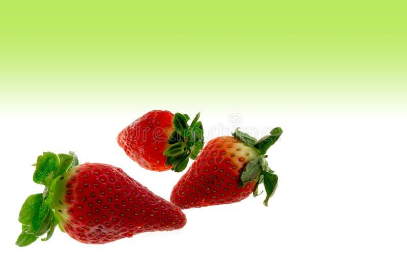 在绿色背景的草莓 库存照片