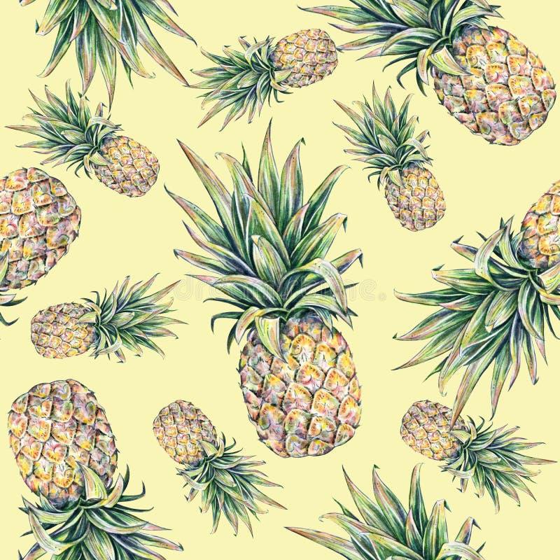 在黄色背景的菠萝 水彩五颜六色的例证 热带的果子 无缝的模式 向量例证
