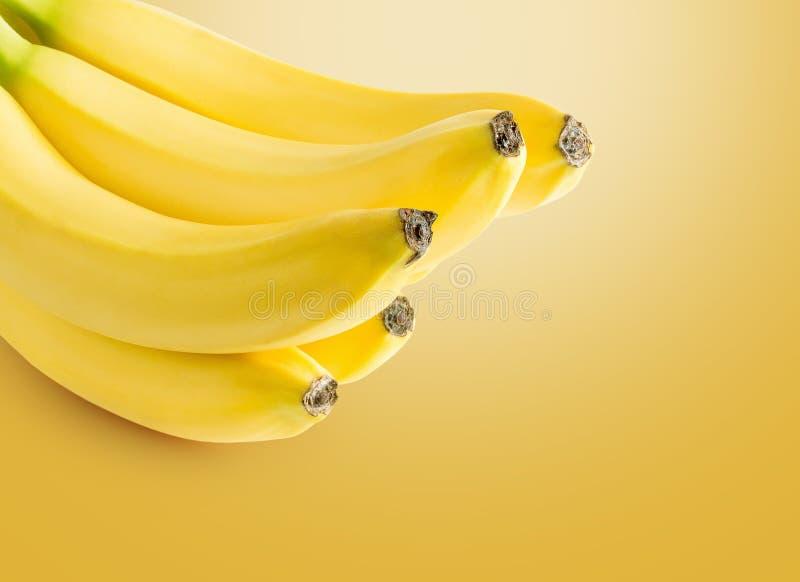 在黄色背景的香蕉 库存照片