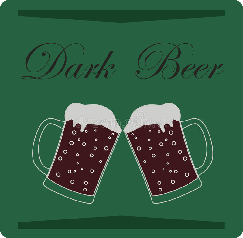 在绿色背景的黑啤酒 也corel凹道例证向量 皇族释放例证