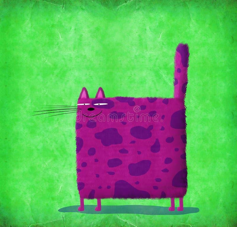 在绿色背景的紫罗兰色方形的猫 库存例证