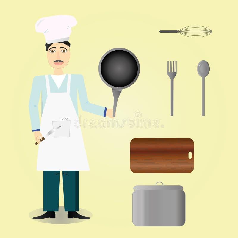 在黄色背景,烹饪器材,厨师,厨房工具箱的厨师象 库存例证