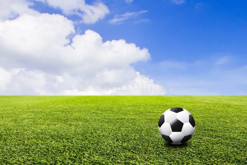 在绿色草坪和天空背景的橄榄球 3D例证或3D 图库摄影