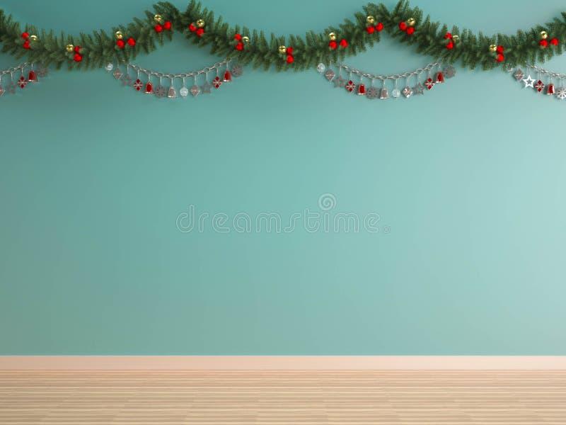 在绿色薄荷的墙壁X'mas背景的圣诞节装饰 库存图片