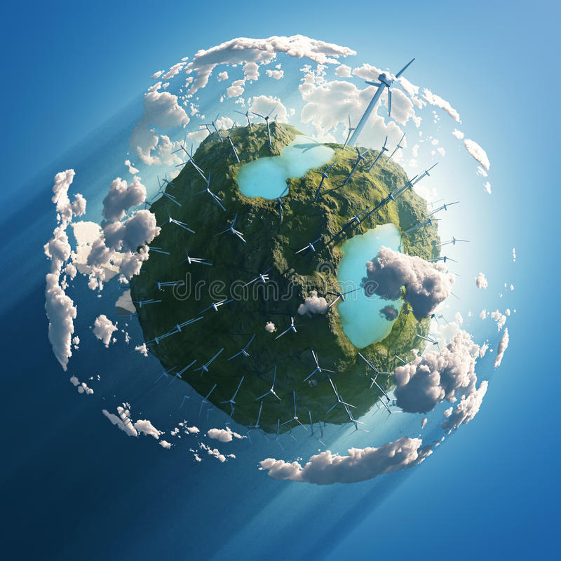 在绿色行星的风轮机 向量例证