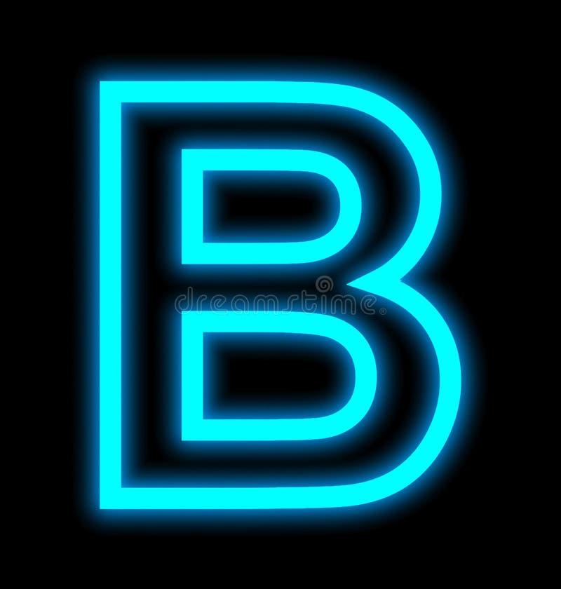 在黑色被概述隔绝的B霓虹灯上写字 库存例证