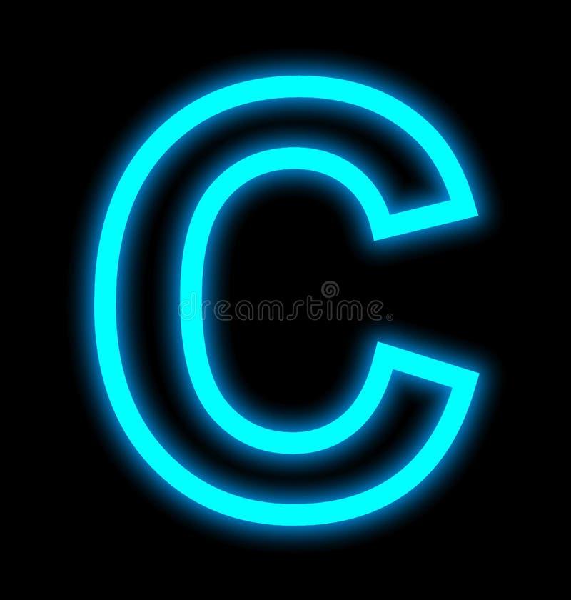 在黑色被概述隔绝的C霓虹灯上写字 向量例证