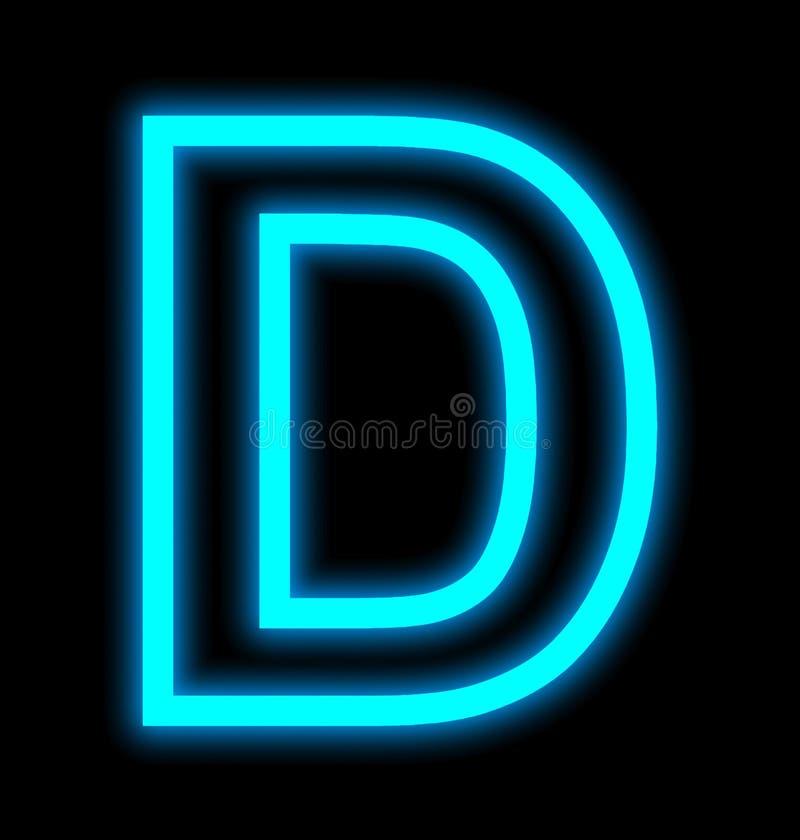 在黑色被概述隔绝的D霓虹灯上写字 库存例证