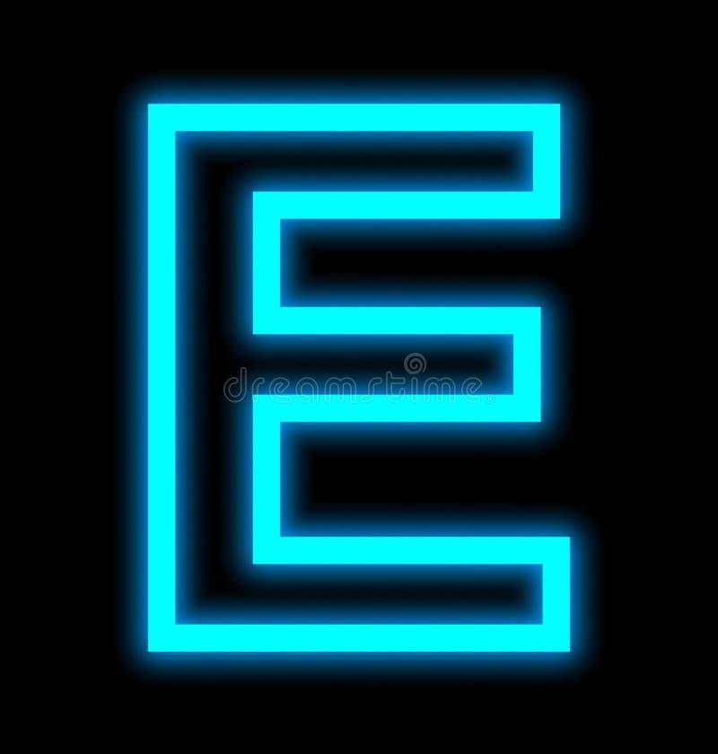 在黑色被概述隔绝的E霓虹灯上写字 库存例证