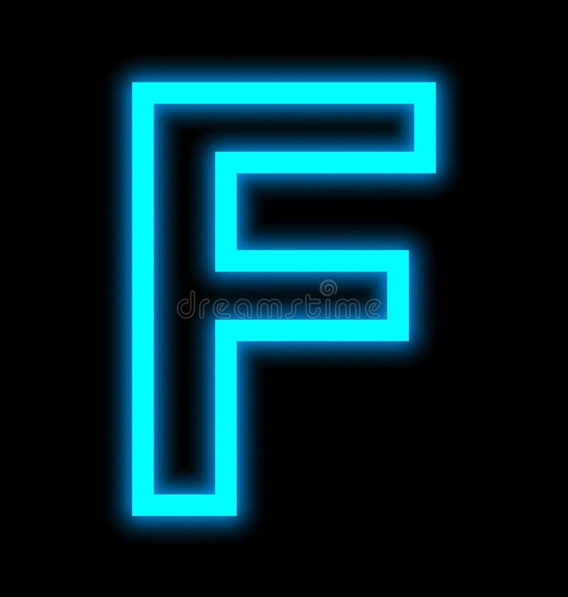 在黑色被概述隔绝的F霓虹灯上写字 皇族释放例证
