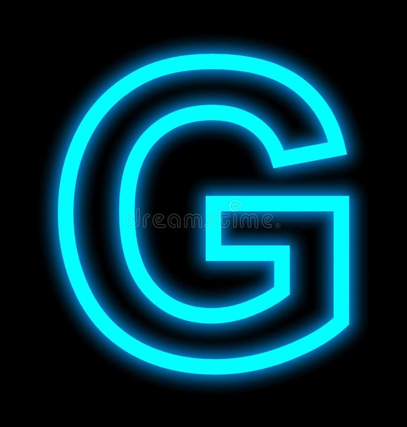 在黑色被概述隔绝的G霓虹灯上写字 向量例证