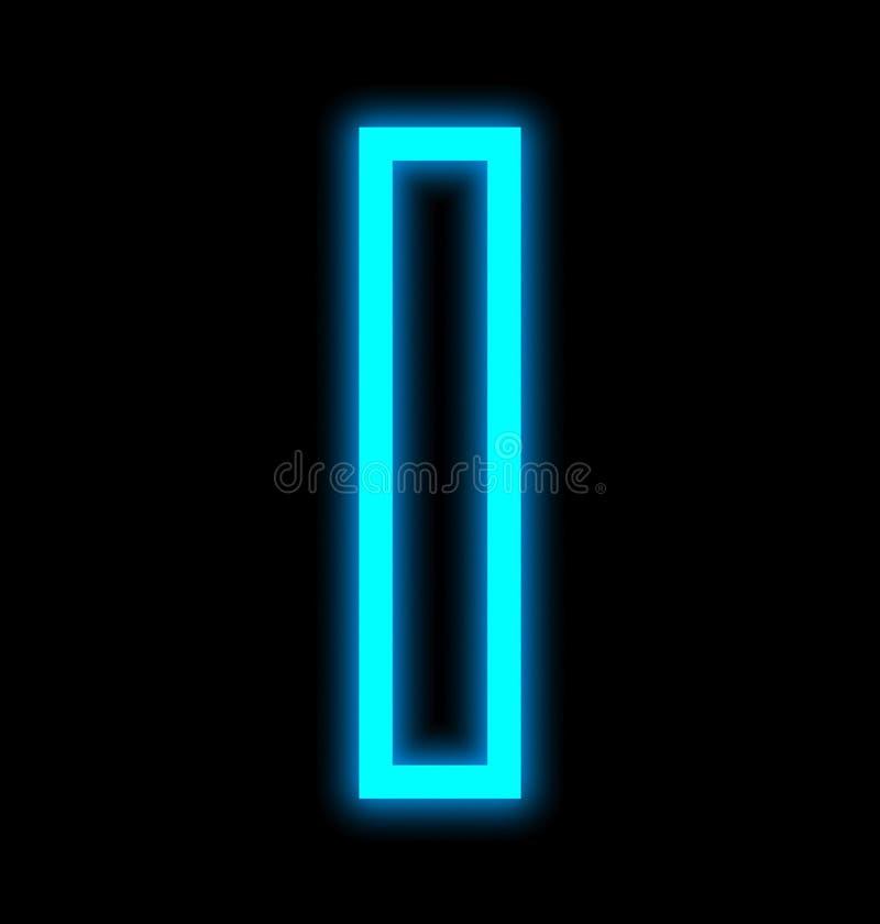 在黑色被概述隔绝的I霓虹灯上写字 向量例证