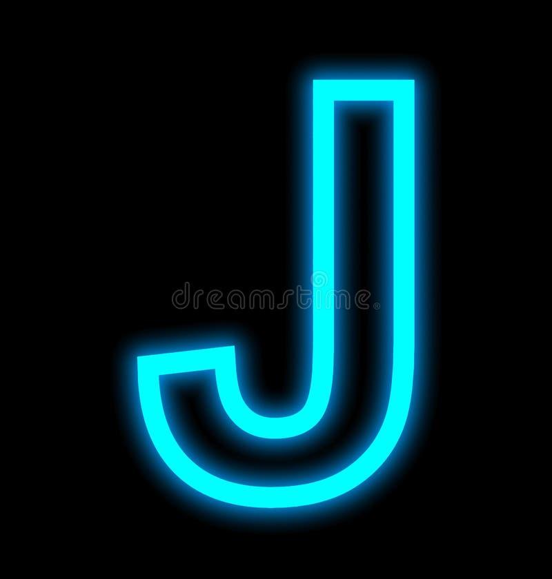 在黑色被概述隔绝的J霓虹灯上写字 向量例证