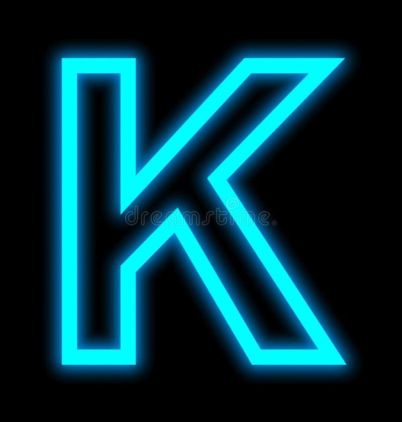 在黑色被概述隔绝的K霓虹灯上写字 向量例证
