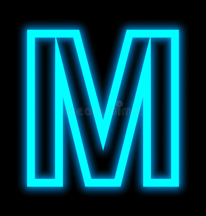 在黑色被概述隔绝的M霓虹灯上写字 库存例证